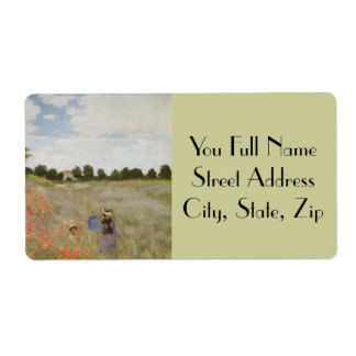 Field of Poppies Claude Monet Shipping Label