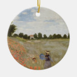 Field of Poppies Claude Monet Christmas Tree Ornaments