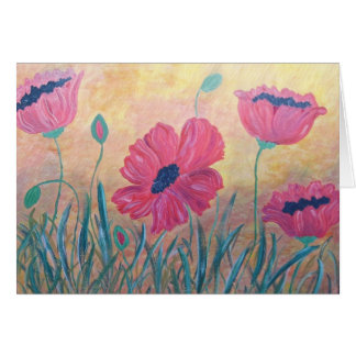 Field Of Poppies Painting Card