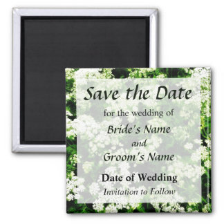 Field of Queen Anne's Lace Save the Date 2 Inch Square Magnet