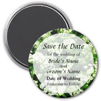 Field of Queen Anne's Lace Save the Date 3 Inch Round Magnet