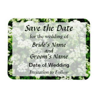 Field of Queen Anne's Lace Save the Date Rectangular Photo Magnet