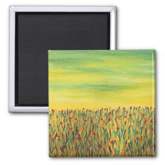 Field of Red Flowers 2 Inch Square Magnet