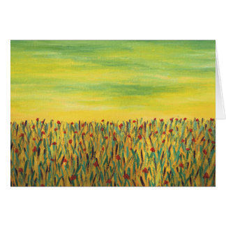 Field of Red Flowers Greeting Card
