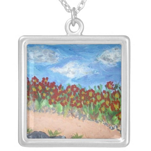 Field of Red Flowers Square Pendant Necklace