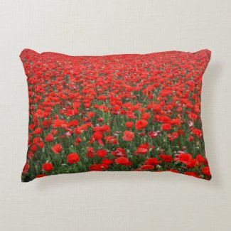 Field of Red Poppies Decorative Pillow