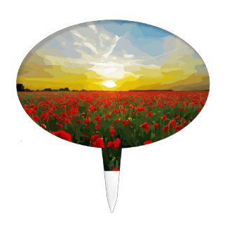 Field of red Poppies with Sunrise Cake Topper
