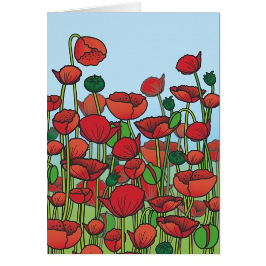 Field of red Poppy flowers Card
