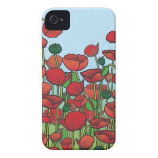 Field of red Poppy flowers iPhone 4 Cover