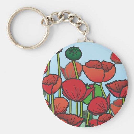Field of red Poppy flowers Keychains