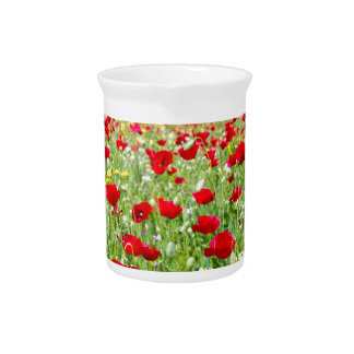 Field of red poppy flowers with yellow rapeseed beverage pitcher