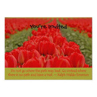 Field of Red Tulips with Inspirational Quote 5x7 Paper Invitation Card