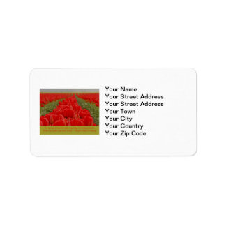 Field of Red Tulips with Inspirational Quote Address Label