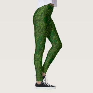 Field of Shamrocks Digital Art Pattern St Patricks Leggings