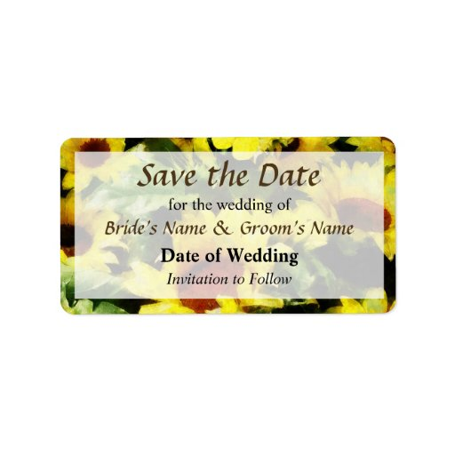 Field of Sunflowers Save the Date Personalized Address Labels