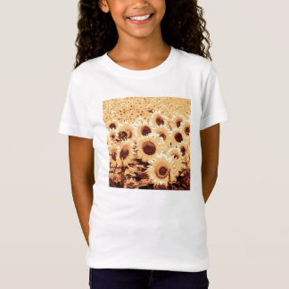 Field of Sunflowers - sepia tone, camel & brown T-Shirt