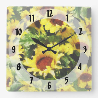 Field of Sunflowers Square Wall Clock