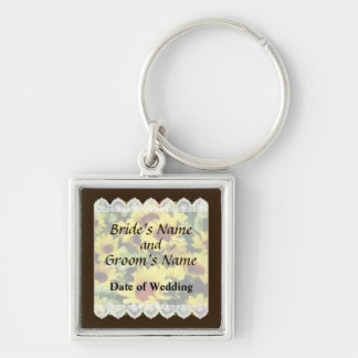 Field of Sunflowers Wedding Favors Silver-Colored Square Keychain