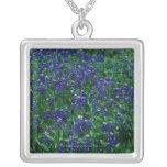 Field of Texas Bluebonnets Square Pendant Necklace