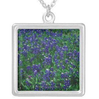 Field of Texas Bluebonnets Square Pendant Necklace