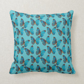 Field of Turquoise Blue Butterflies Pattern Throw Pillow