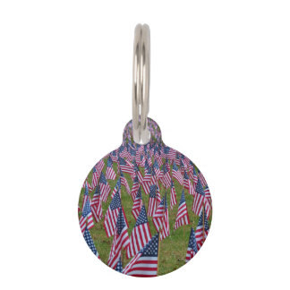 Field of US Flags Pet Tags