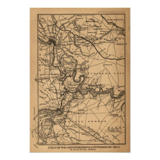 Field of war around Richmond & Petersburg, 1864-5 Poster