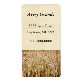 Field Of Wheat, Golden Grains Shipping Labels
