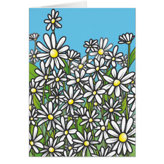 Field of white daisy flowers greeting card
