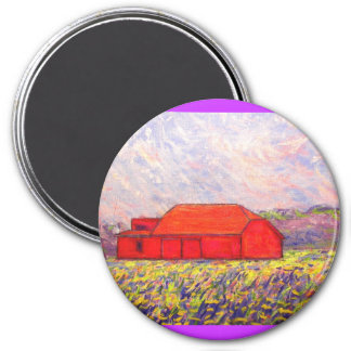field of wild purple irises 3 inch round magnet
