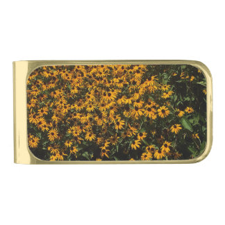 Field of Yellow Flowers Gold Finish Money Clip
