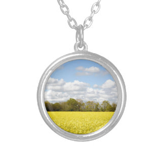 Field of yellow rapeseed silver plated necklace