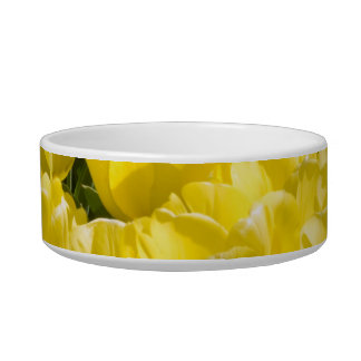 Field of Yellow Tulips Cat Food Bowl