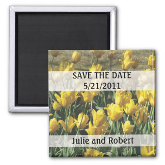 Field of yellow tulips save the date magnet