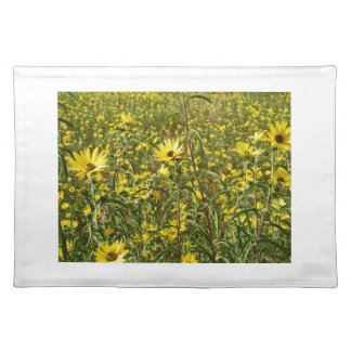 Field of Yellow Wild Flowers For The Beautiful Bee Cloth Place Mat