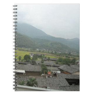 field sky grassland houses notebook