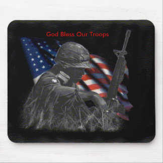 field_soldier_flag, God Bless Our Troops Mouse Mat