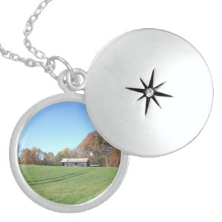 Field With Barn Locket Necklace