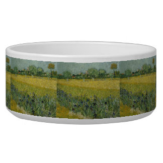 Field with Flowers Near Arles by Vincent Van Gogh Pet Food Bowls