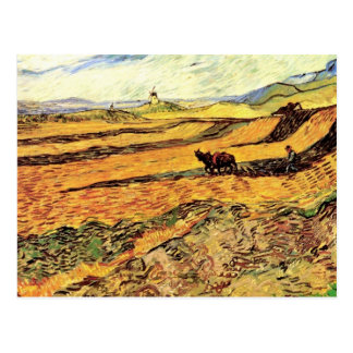 Field with Ploughman and Mill by Vincent van Gogh Postcard