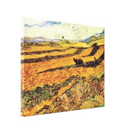 Field with Ploughman and Mill Vincent van Gogh Gallery Wrapped Canvas