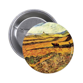 Field with Ploughman and Mill Vincent van Gogh. Pinback Button