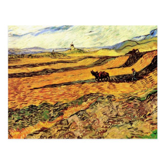 Field with Ploughman and Mill Vincent van Gogh. Postcard