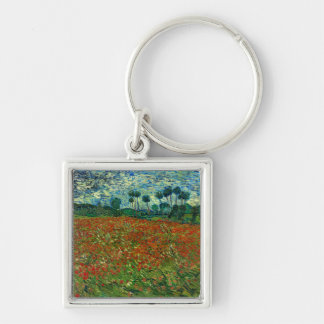 Field with Poppies by Van Gogh Fine Art Silver-Colored Square Keychain