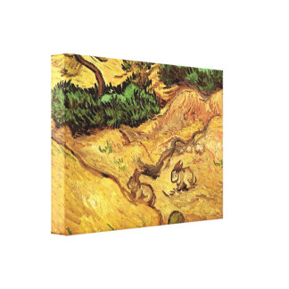 Field with Two Rabbits by Vincent van Gogh Canvas Print