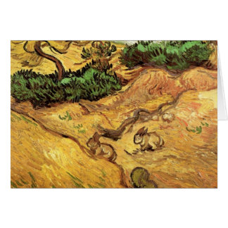 Field with Two Rabbits by Vincent van Gogh Card