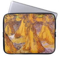 Field with Wheat Stacks, Vincent van Gogh. Laptop Sleeves