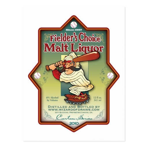 Fielder's Choice Malt Liquor Post Card