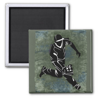 Fielding the Ball on Textured Green Background 2 Inch Square Magnet