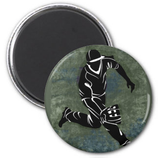 Fielding the Ball on Textured Green Background 2 Inch Round Magnet